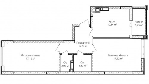 2-кімнатна 58.70м² номер - 38 зображення з ЖК Синергія Сіті