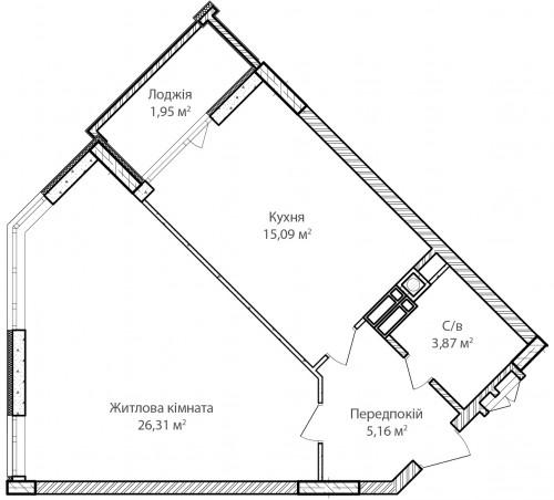 1-кімнатна 52.38м² номер - 41 зображення з ЖК Синергія Сіті