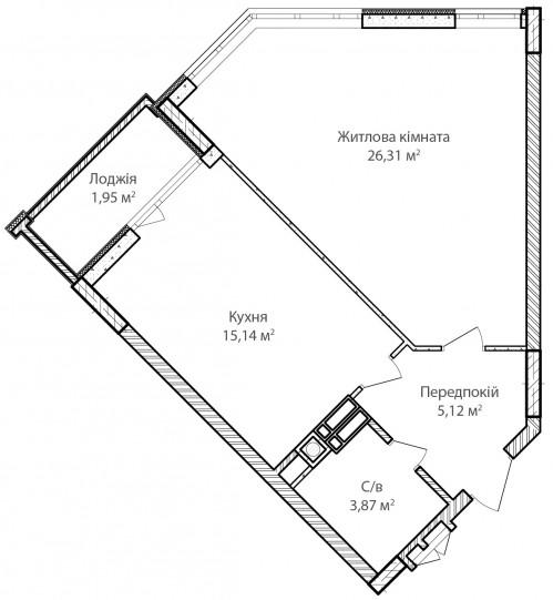 1-кімнатна 52.39м² номер - 24 зображення з ЖК Синергія Сіті