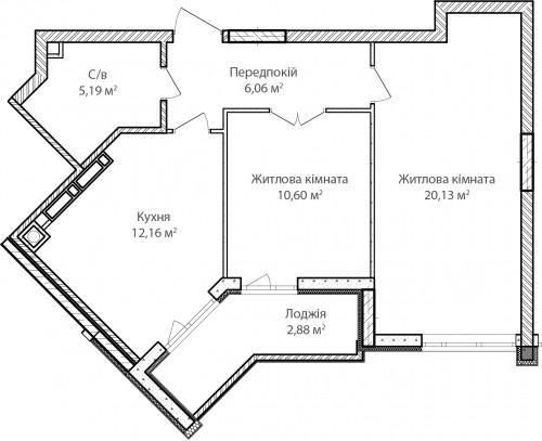 2-кімнатна 57.02м² номер - 18 зображення з ЖК Синергія Сіті