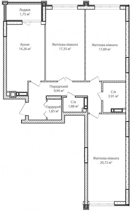 3-кімнатна 89.55м² номер - 17 зображення з ЖК Синергія Сіті
