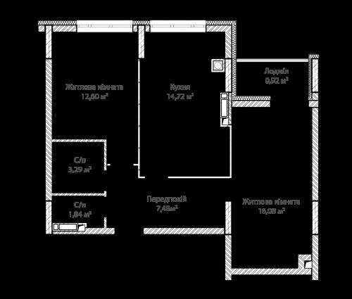 2-кімнатна 56.93м² номер - 10 зображення з ЖК Синергія Сіті