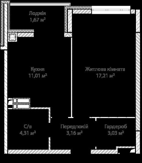 1-кімнатна 40.39м² номер - 1 зображення з ЖК Синергія Сіті