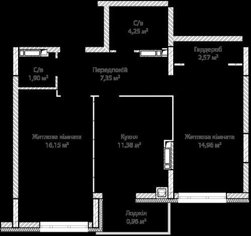 2-кімнатна 59.52м² номер - 3 зображення з ЖК Синергія Сіті