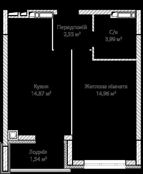 1-кімнатна 37.91м² номер - 12 зображення з ЖК Синергія Сіті