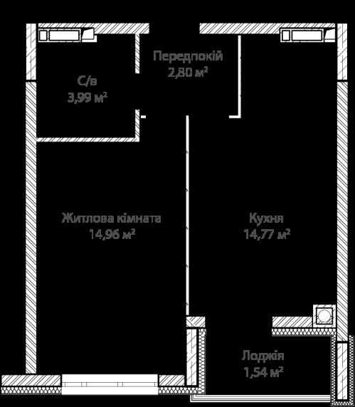 1-кімнатна 38.06м² номер - 13 зображення з ЖК Синергія Сіті