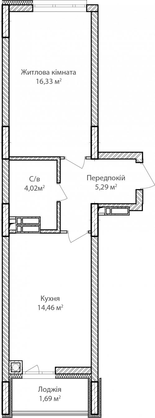 1-кімнатна 41.79м² номер - 15 зображення з ЖК Синергія Сіті