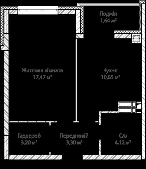 1-кімнатна 40.58м² номер - 16 зображення з ЖК Синергія Сіті