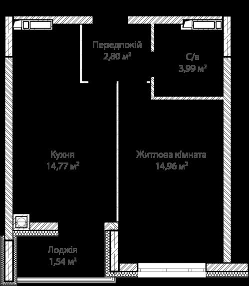 1-кімнатна 38.10м² номер - 6 зображення з ЖК Синергія Сіті
