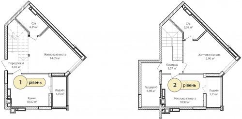 3-кімнатна 79.69м² номер - 64 зображення з ЖК Синергія Сіті