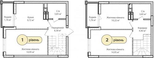 3-кімнатна 73.84м² номер - 66 зображення з ЖК Синергія Сіті