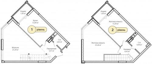 3-кімнатна 102.29м² номер - 68 зображення з ЖК Синергія Сіті