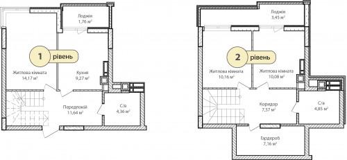 3-кімнатна 84.47м² номер - 77 зображення з ЖК Синергія Сіті