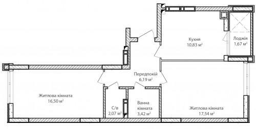 2-кімнатна 58.22м² номер - 29 зображення з ЖК Синергія Сіті