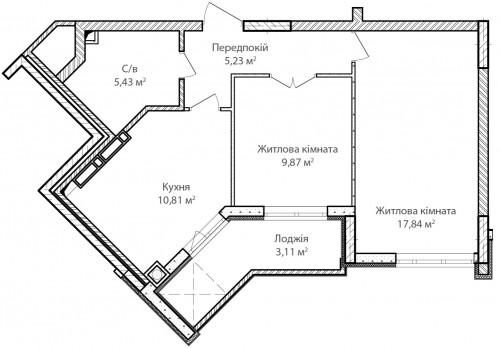 2-кімнатна 52.29м² номер - 9 зображення з ЖК Синергія Сіті