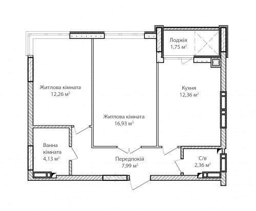 2-кімнатна 58.19м² номер - 7 зображення з ЖК Синергія Сіті