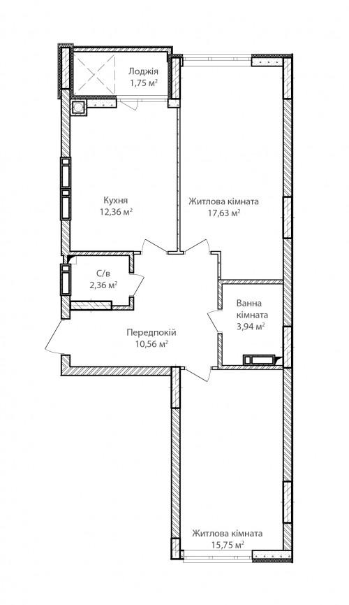 2-кімнатна 64.35м² номер - 8 зображення з ЖК Синергія Сіті