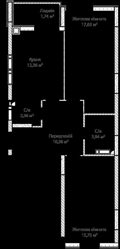 2-кімнатна 64.34м² номер - 71 зображення з ЖК Синергія Сіті