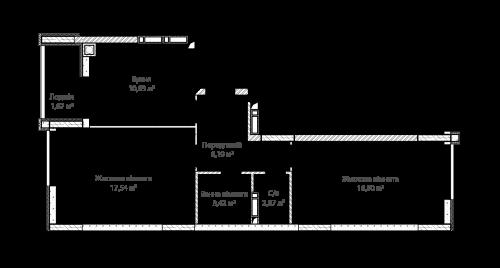 2-кімнатна 58.22м² номер - 39 зображення з ЖК Синергія Сіті