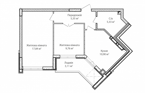 2-кімнатна 52.29м² номер - 61 зображення з ЖК Синергія Сіті
