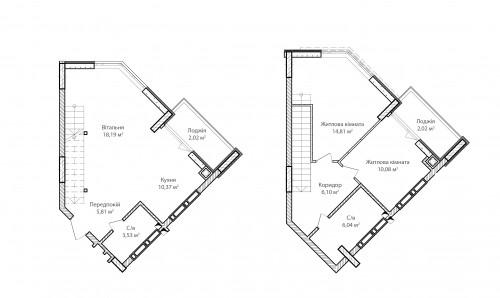 3-кімнатна 78.97м² номер - 75 зображення з ЖК Синергія Сіті