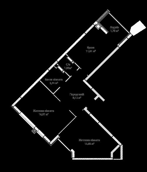 2-кімнатна 60.87м² номер - 1 зображення з ЖК Синергія Сіті