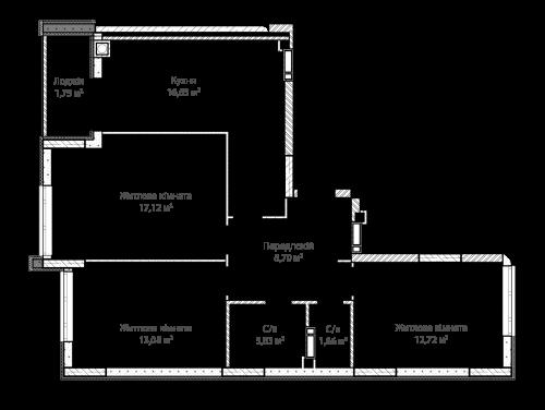 3-кімнатна 75.71м² номер - 6 зображення з ЖК Синергія Сіті