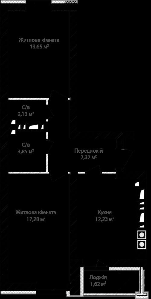 2-кімнатна 58.08м² номер - 2 зображення з ЖК Синергія Сіті