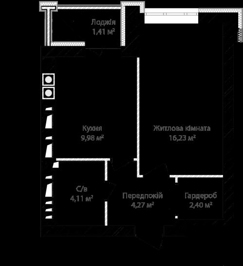 1-кімнатна 38.40м² номер - 4 зображення з ЖК Синергія Сіті