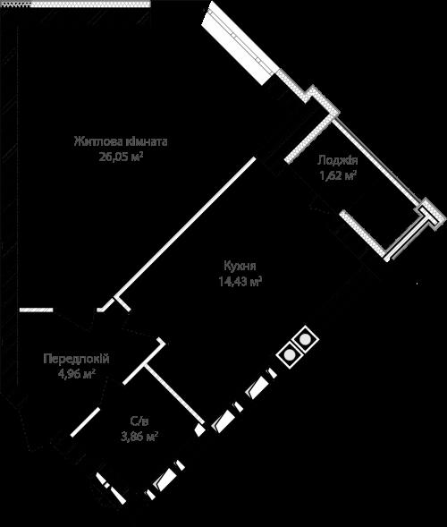 1-кімнатна 50.91м² номер - 5 зображення з ЖК Синергія Сіті