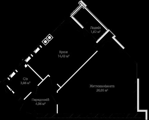 1-кімнатна 50.92м² номер - 6 зображення з ЖК Синергія Сіті