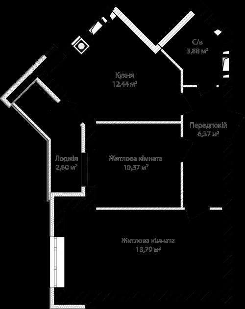 2-кімнатна 54.40м² номер - 9 зображення з ЖК Синергія Сіті
