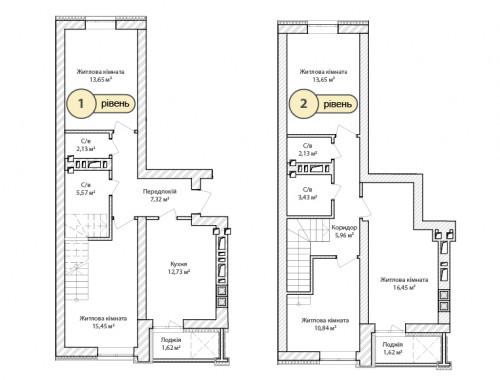 5-кімнатна 112.55м² номер - 65 зображення з ЖК Синергія Сіті
