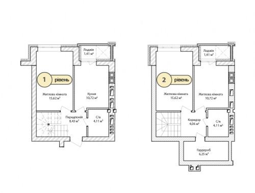 3-кімнатна 82.46м² номер - 66 зображення з ЖК Синергія Сіті