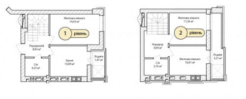 3-кімнатна 73.43м² номер - 70 зображення з ЖК Синергія Сіті