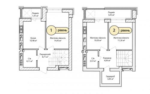 3-кімнатна 76.25м² номер - 67 зображення з ЖК Синергія Сіті