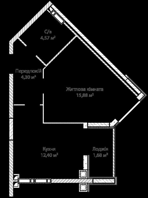 1-кімнатна 39.10м² номер - 1 зображення з ЖК Синергія Сіті
