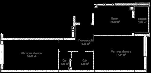 2-кімнатна 58.42м² номер - 2 зображення з ЖК Синергія Сіті
