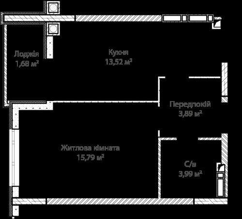 1-кімнатна 38.87м² номер - 3 зображення з ЖК Синергія Сіті