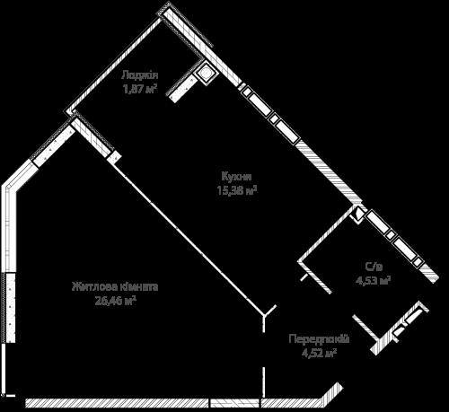 1-кімнатна 52.76м² номер - 14 зображення з ЖК Синергія Сіті