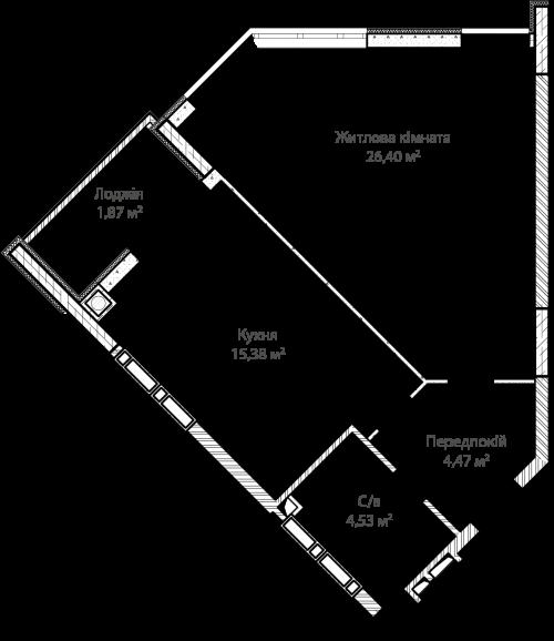 1-кімнатна 52.65м² номер - 6 зображення з ЖК Синергія Сіті