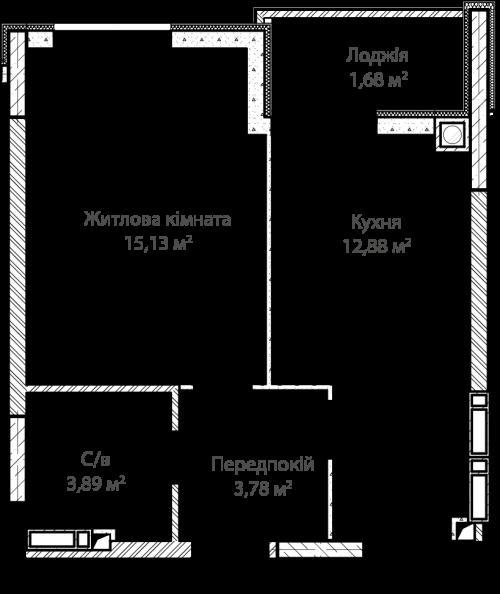 1-кімнатна 37.36м² номер - 7 зображення з ЖК Синергія Сіті
