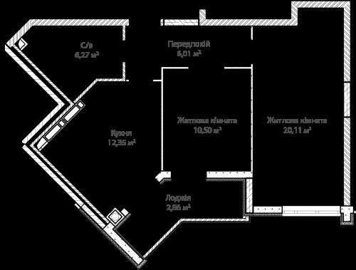 2-кімнатна 58.10м² номер - 9 зображення з ЖК Синергія Сіті