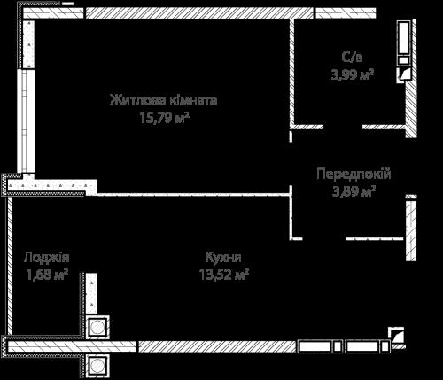 1-кімнатна 38.95м² номер - 4 зображення з ЖК Синергія Сіті