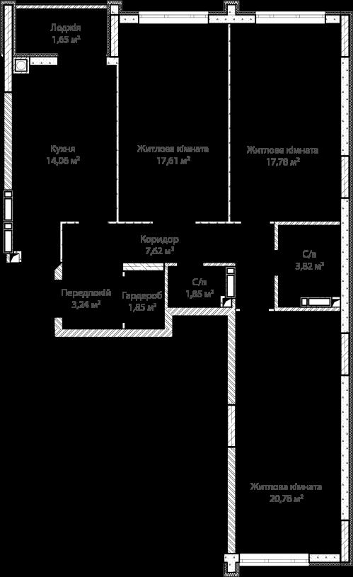 3-кімнатна 90.26м² номер - 8 зображення з ЖК Синергія Сіті