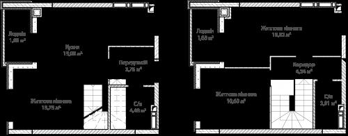 3-кімнатна 74.50м² номер - 66 зображення з ЖК Синергія Сіті