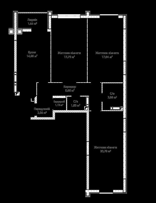 3-кімнатна 88.90м² номер - 71 зображення з ЖК Синергія Сіті