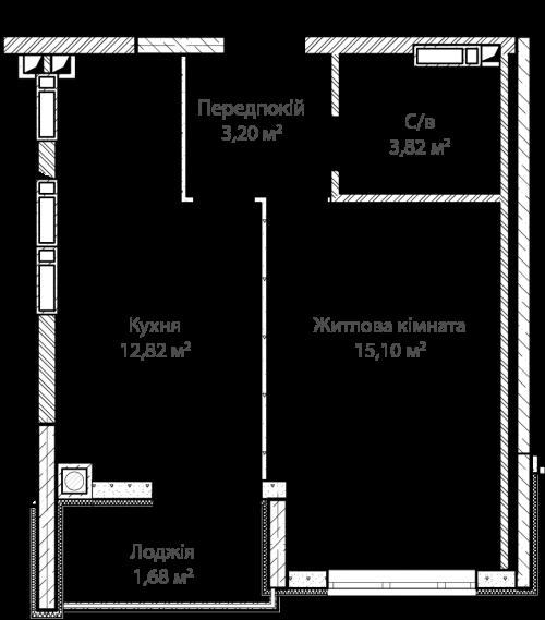 1-кімнатна 36.62м² номер - 1 зображення з ЖК Синергія Сіті