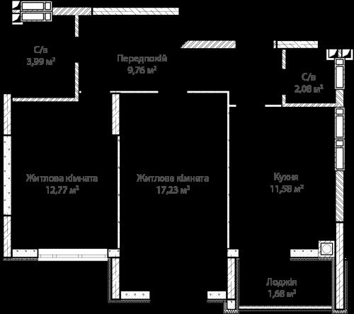 2-кімнатна 59.09м² номер - 18 зображення з ЖК Синергія Сіті
