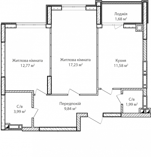 2-кімнатна 59.08м² номер - 3 зображення з ЖК Синергія Сіті